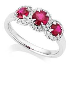 Preview image of 18CT WHITE GOLD RUBY 1.24 & DIAMOND .25 TRILOGY CLUSTER RING