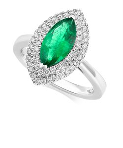 Preview image of PLATINUM EMERALD 1.46 & DIAMOND .40 RING