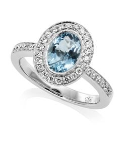 Preview image of 18CT WHITE GOLD AQUAMARINE 1.23 & DIAMOND .31 RING