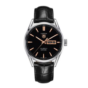 Preview image of TAG Heuer Men's Carrera Calibre 5 Day/Date Black Leather Strap Watch