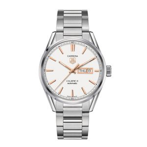 Preview image of TAG Heuer Carrera Calibre 5 Rose Gold Day Date Men's White Dial Bracelet Watch