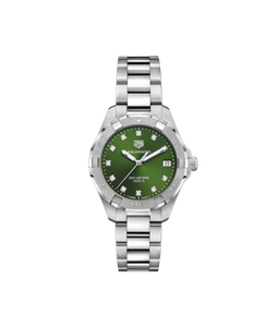 Preview image of Tag Heuer Ladies 32mm Aquaracer Green Diamond Dial Bracelet Watch