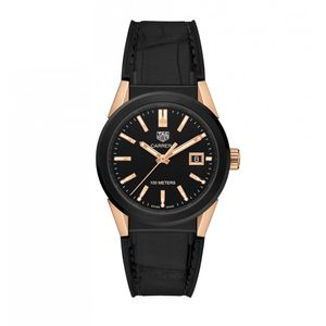 Preview image of Ladies Tag Heuer Black and Rose Gold Plated Carrera strap watch