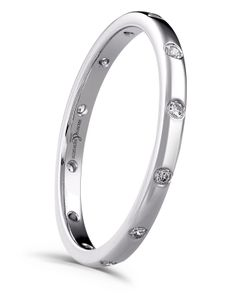 Preview image of Platinum 2mm 12x Rubover Diamond Set Ladies Wedding Ring