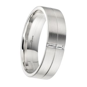 Preview image of Palladium 2 Row Satin with 2x Baguette Diamond Set Gents Wedding Ring