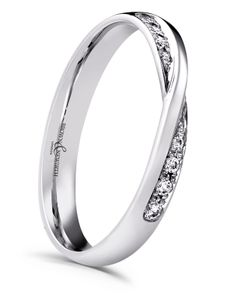 Preview image of Ladies Platinum Crossover Diamond Set Wedding Ring