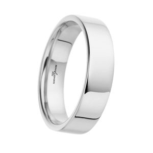 Preview image of 9ct White Gold 5mm Flat Top Light Court Gents Wedding Ring