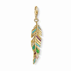 Preview image of Thomas Sabo Yellow Gold Decorated Feather Charm