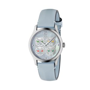 Preview image of Gucci G-Timeless Blue Mother of Pearl Feline Strap Watch