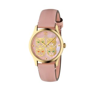 Preview image of Gucci G-Timeless Pink Mother of Pearl Feline Strap Watch