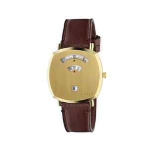 Preview image of Gucci Grip 38mm Gold PVD Burgundy Calfskin Strap Watch