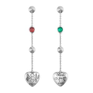 Preview image of Gucci Blind For Love Pink & Green Zirconia Drop Earrings