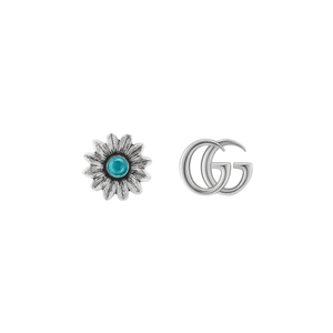Preview image of Gucci Double G And Stone Set Flower Silver Earrings.