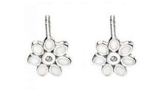 Preview image of D for Diamond Flower Stud Earrings