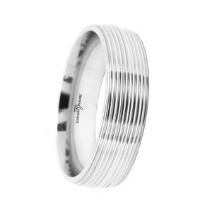 Preview image of 9ct White Gold 6mm Ribbed Gents Wedding Ring