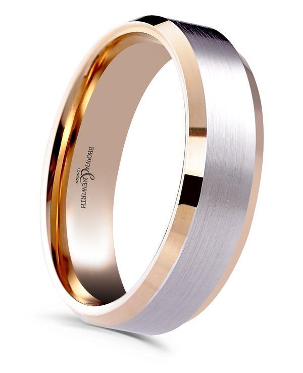 9ct Rose Gold Palladium 5mm Diverse Gents Wedding Ring 7137